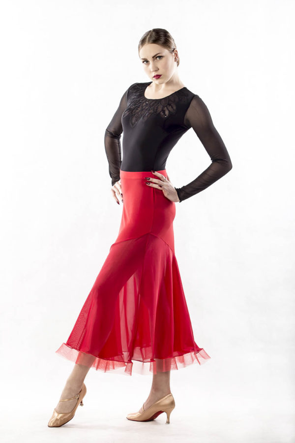 Hour Glass Ballroom Skirt-Red<br/> P14120048-02