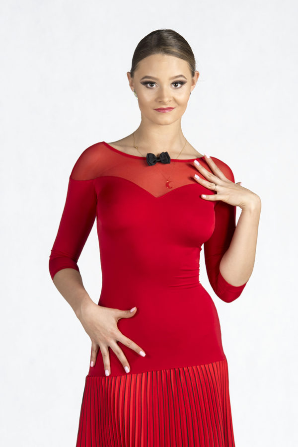 5th Ave Pleated Dress red <br/> P19120014-02