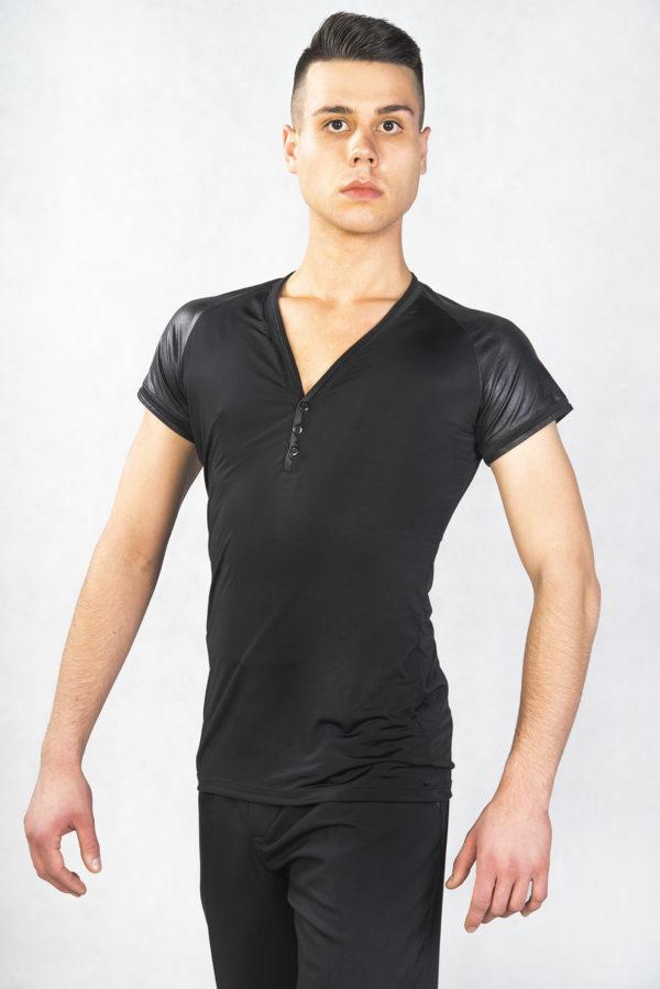 Oliver Short Sleeve V-Neck Top-Black<br/> M18120006-01
