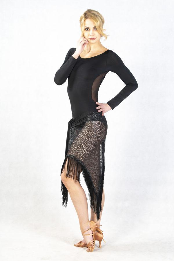 Fringe Wrap Latin Skirt Silver-Black <br/> P14120053-01