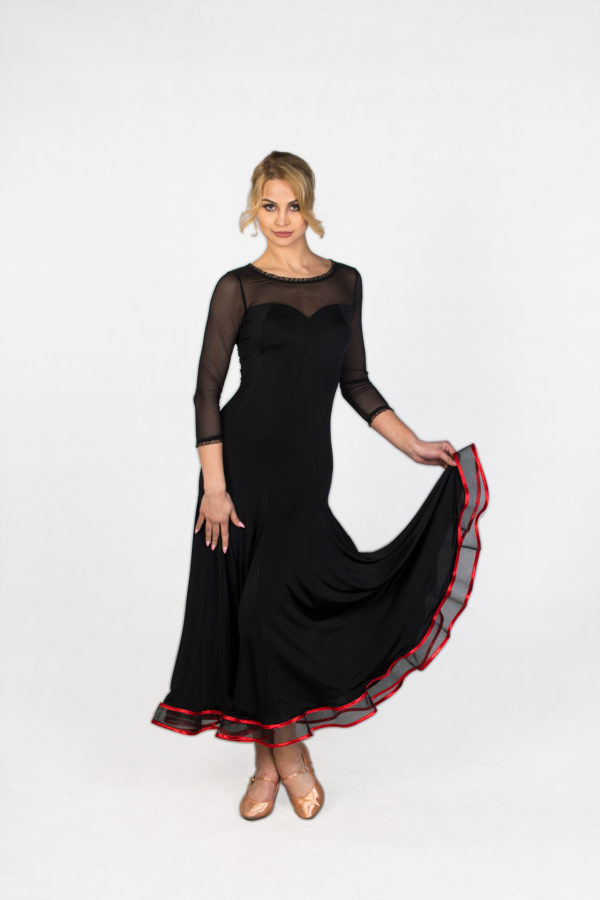 Red Rose Ballroom Dress Black <br/> P18120012-01