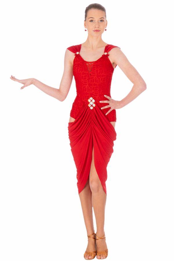 Sandra Latin Dress Red <br/> P20120013-02
