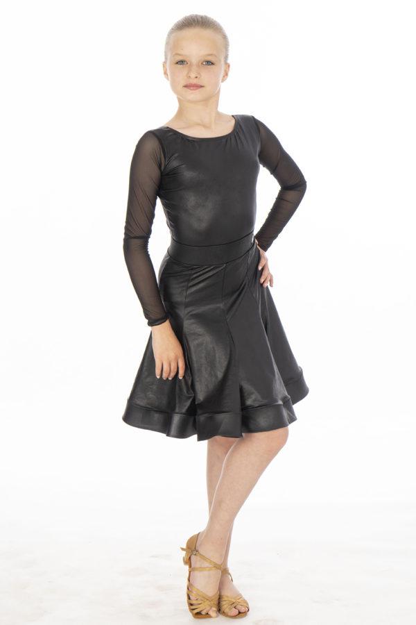 Gwen Soft Leather Latin Skirt Black <br/> G20120017-01