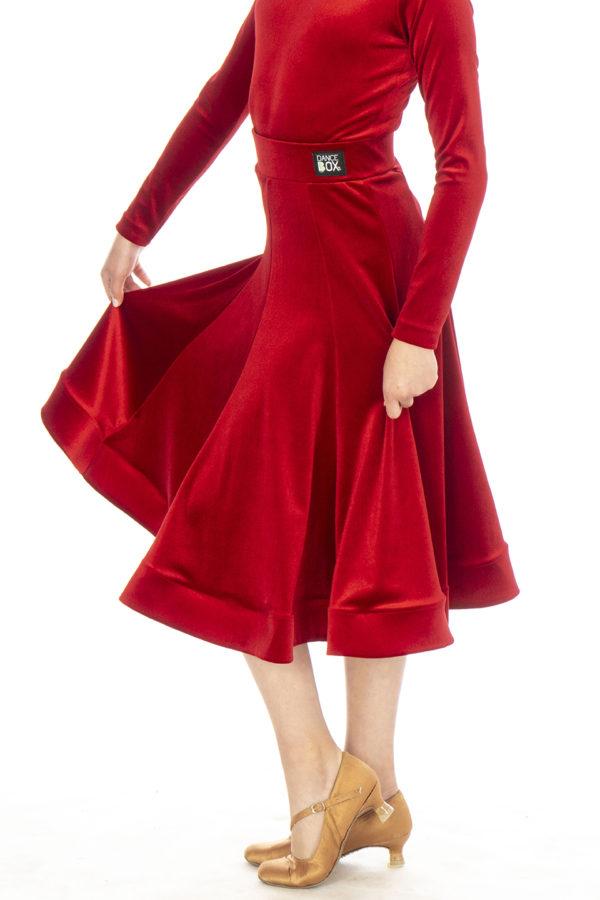 Lorde Ballroom Velvet Skirt Red <br/> G20120012-02