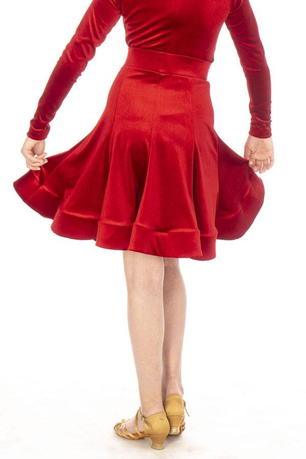 Jessie Latin Velvet Skirt Red <br/> G20120014-02