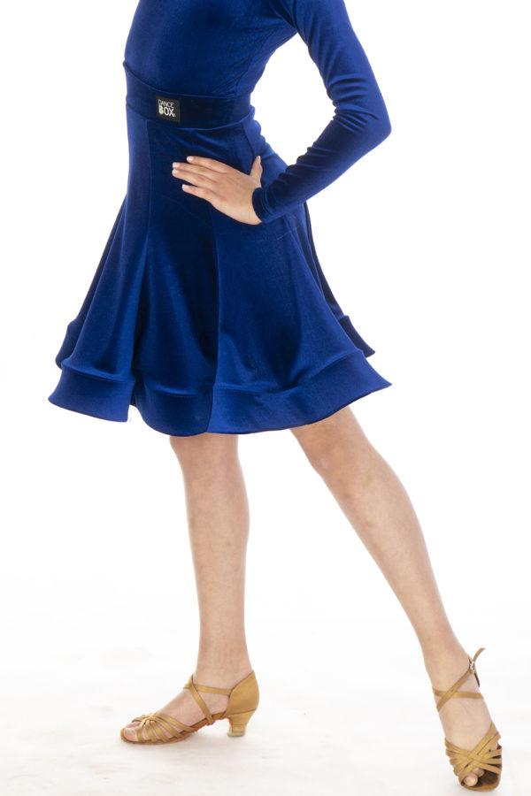 Jessie Latin Velvet Skirt Cobalt <br/> G20120014-03