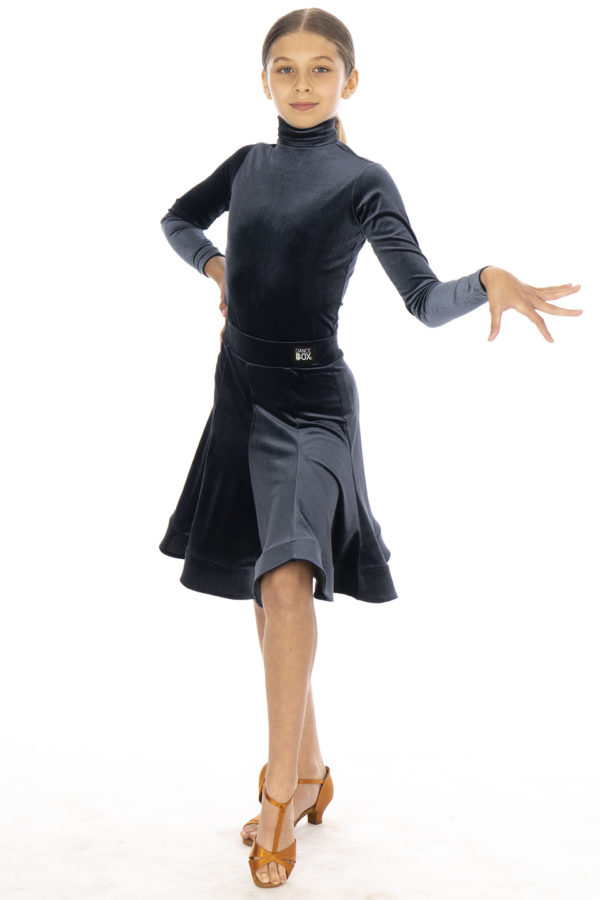Jessie Latin Velvet Skirt Hematite <br/> G20120014-04