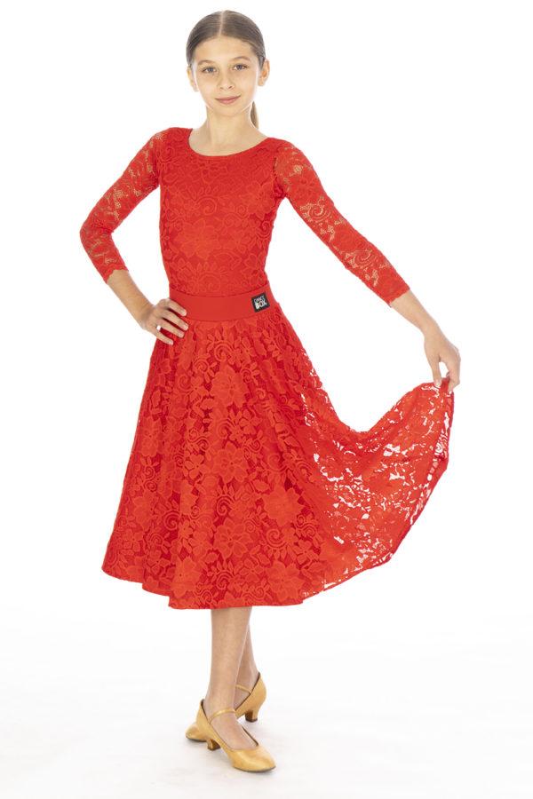 Hailee Lace Ballroom Skirt Red <br/> G20120013-02