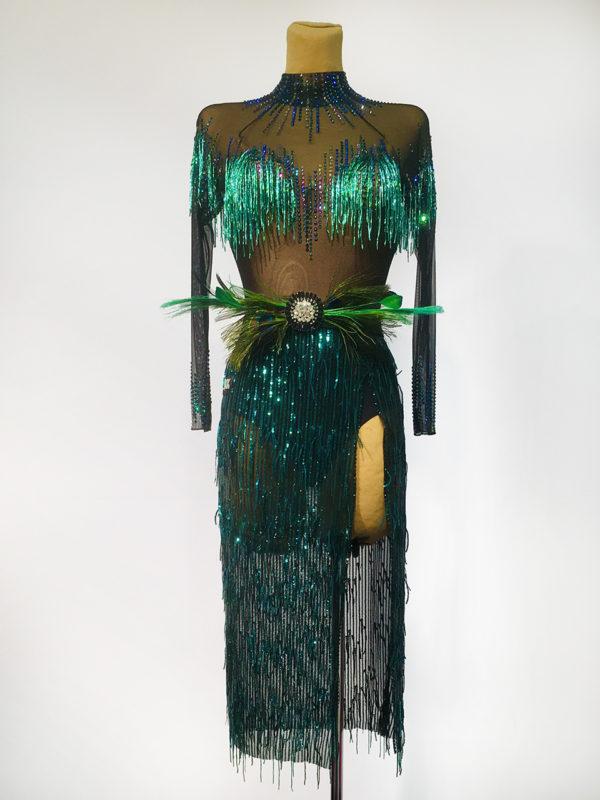 Emerald Sequin Latin Dress  <br/> HC20003