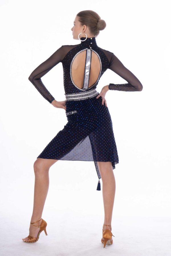 Navy Mirror Latin Dress <br/> HC20002
