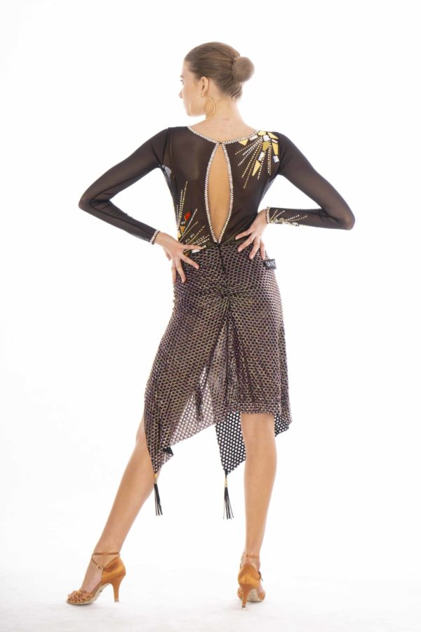 Gold Mirror Latin Dress  <br/> HC20005
