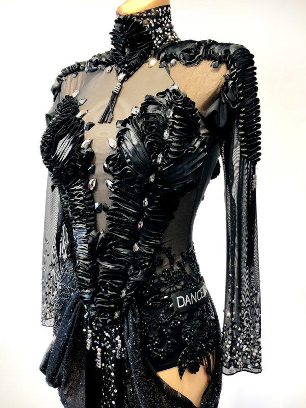 Black Satin Ribbon Latin Dress <br/> HC20006