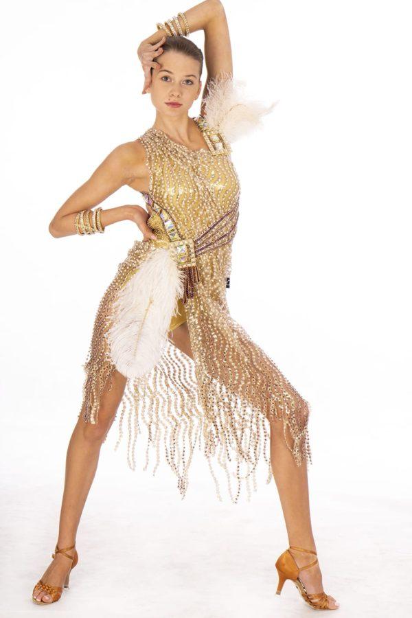 Gold feather Latin Dress <br/> HC20009