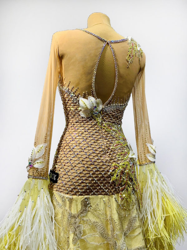 Gold Feather Ballroom Dress <br/> HC20010