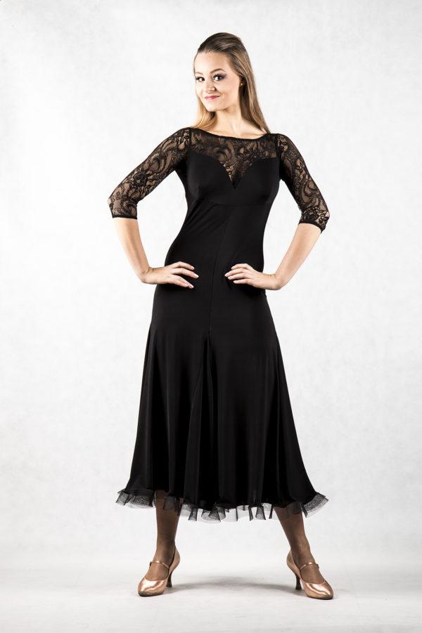 Alicja Lace Yoke Dress Black <br/> P14120043-01
