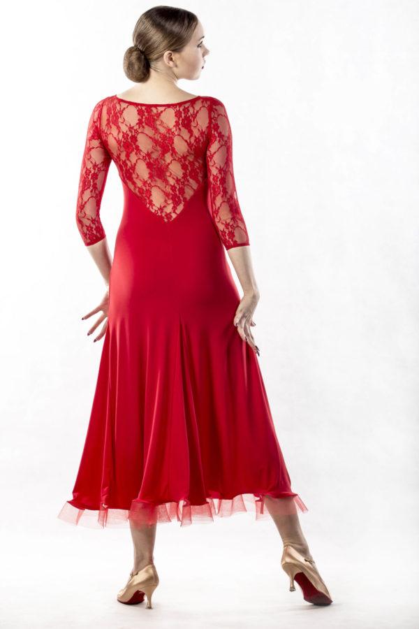 Alicja Lace Yoke Dress Red <br/> P14120043-02
