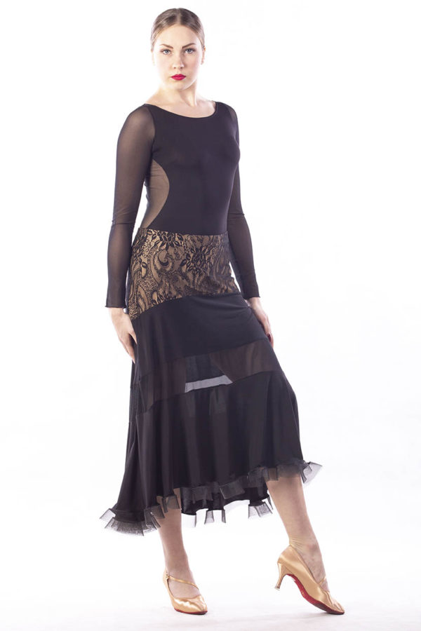 Lace Trim Ballroom Skirt-Black<br/> P15120044-01