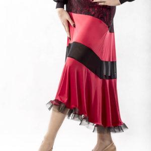 Lace Trim Ballroom Skirt-Red<br/> P15120044-02