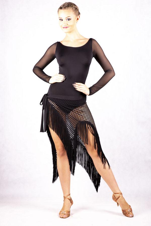Fringe Wrap Latin Skirt black <br/> P14120053-02