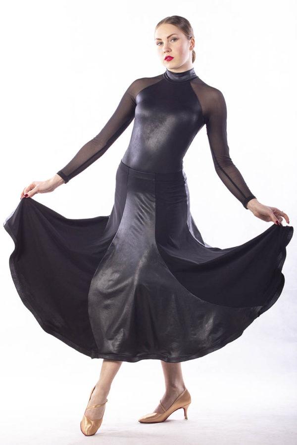Wave Ballroom Skirt-Black<br/> P16120022-01