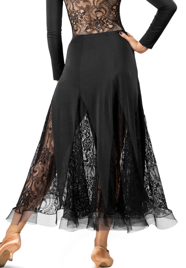 Lace Godet Long Skirt Black<br/> P16120009-01