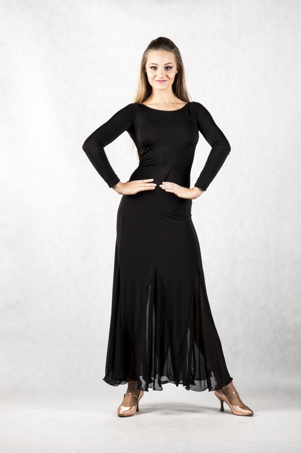 Lace Godet Long Skirt Black<br/> P16120010-01